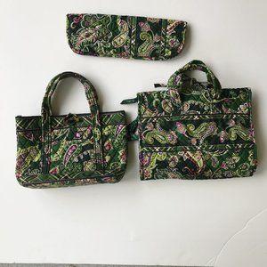 Vera Bradley 3 piece set Green Paisley Travel Girl